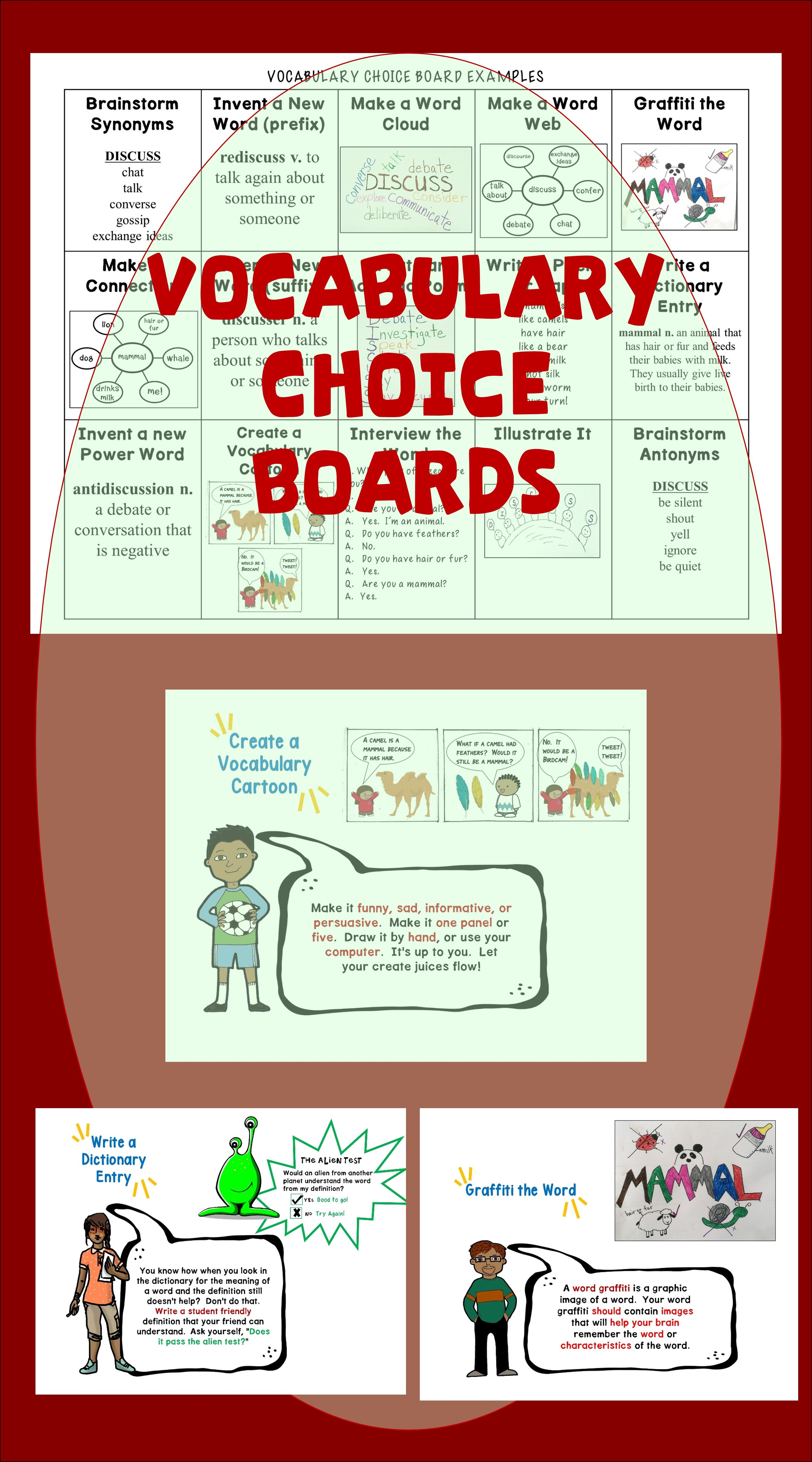 Beyond The Sentence Vocabulary Choice Board And