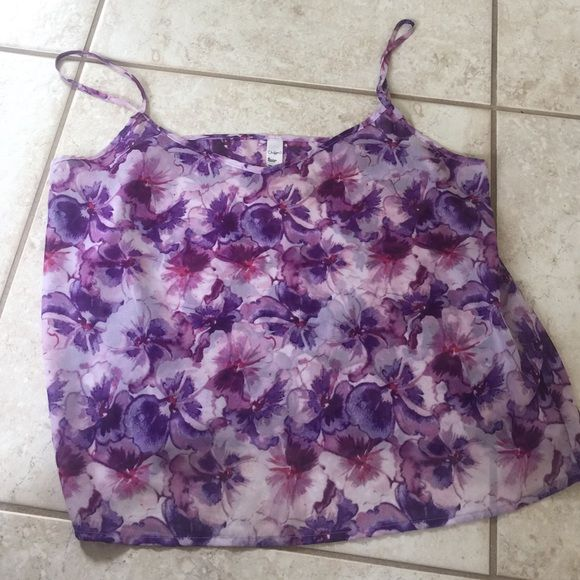 American Apparel Chiffon Tank Perfect for spring; Chiffon by American Apparel tank! Purple flowy tank with lighter color flowers. Perfect condition, only worn twice. Perfect to go with high waisted shorts this spring/summer! American Apparel Tops Tank Tops