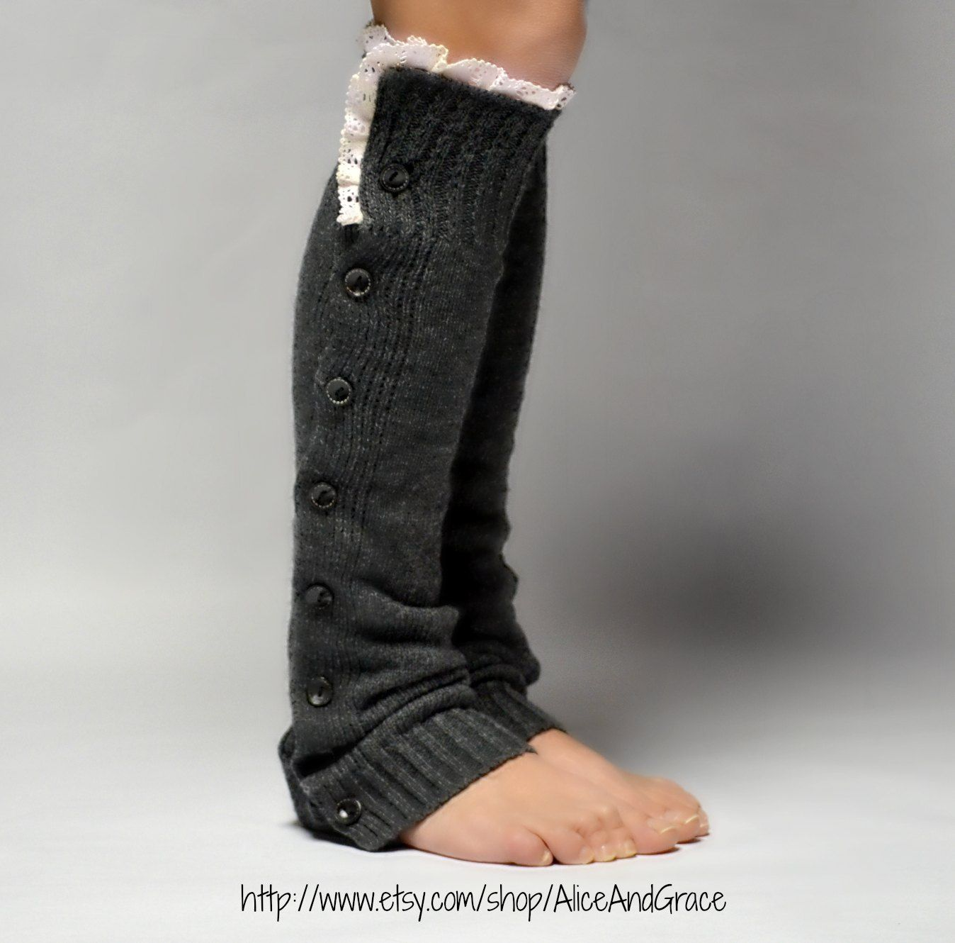 Button charcoal legwarmer boot sock leg warmer by aliceandgrace