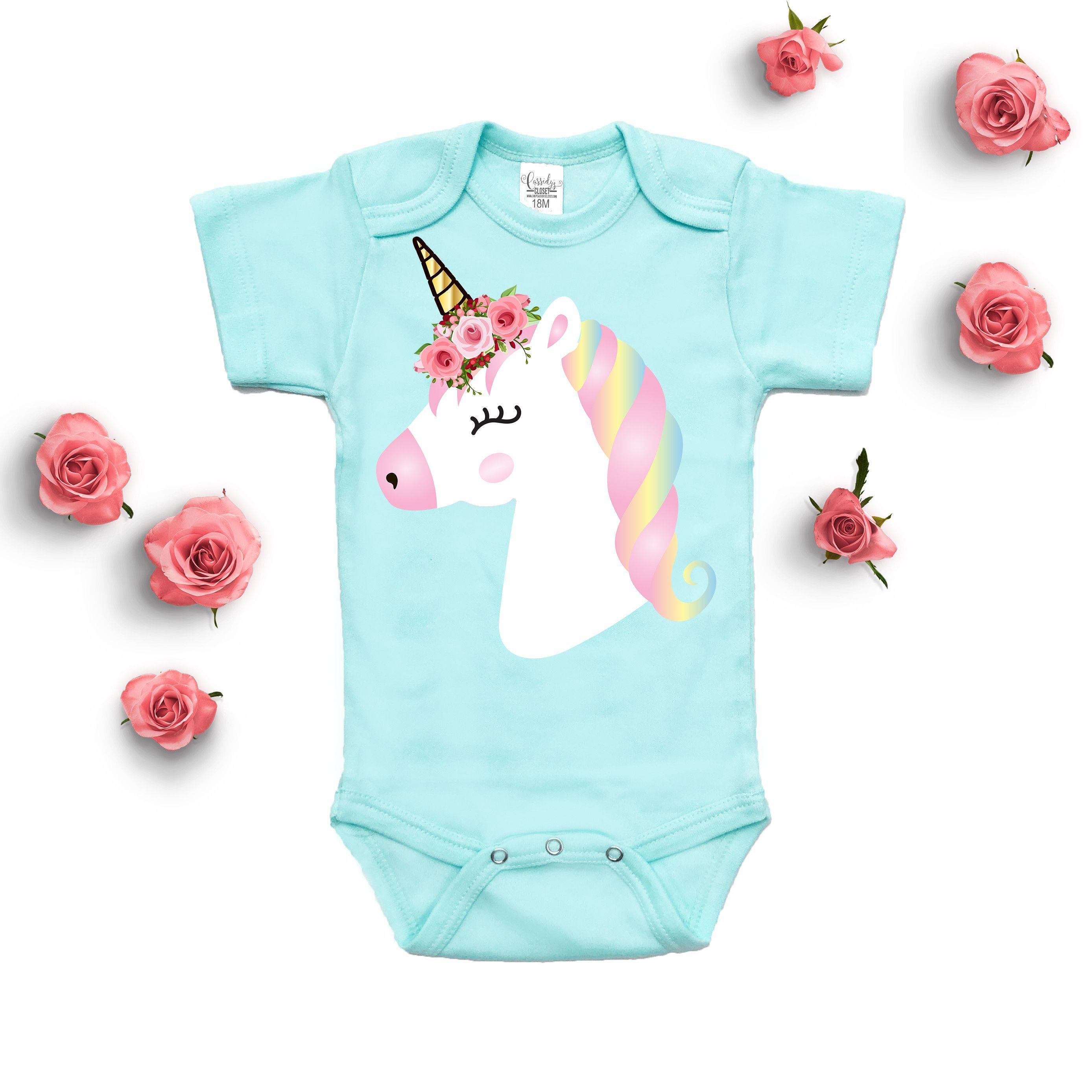 792ed5b3e Unicorn Floral Mint Bodysuit