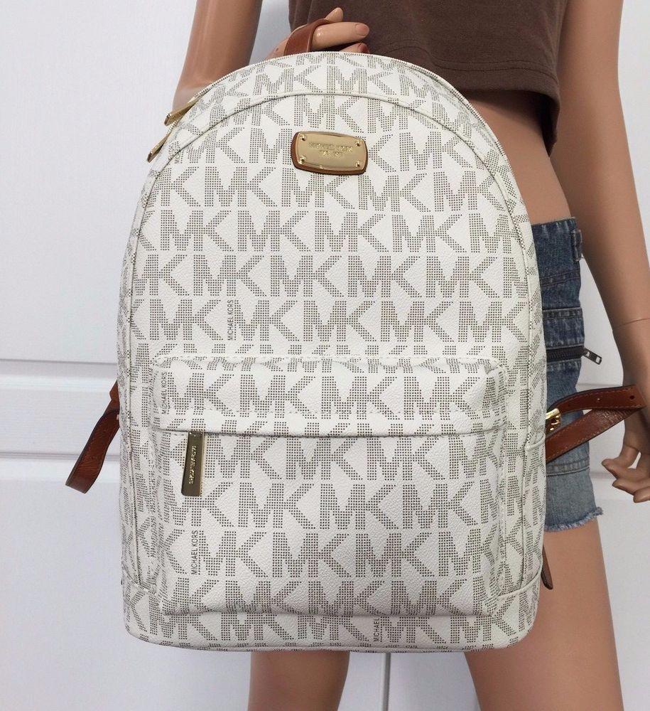 Michael Kors Large Backpack Book Bag Monogram MK PVC Leather