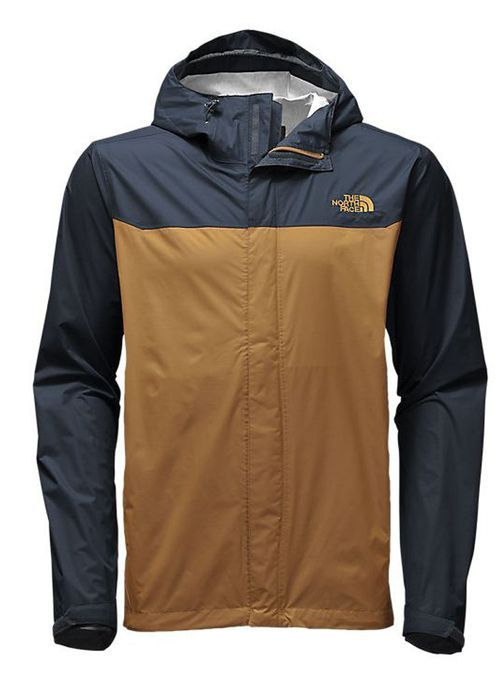 dc9cb1ce7457 Men s Venture Jacket in Dijon Brown and Urban navy by the North Face  features a waterproof and windproof outer layer that protects you from rain  year round