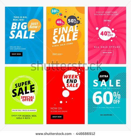 Set of sale website banner templates. Vector illustrations for ...