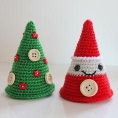 Kerstman En Kerstboom Haken Draadenpapier Gratis Patroon Van