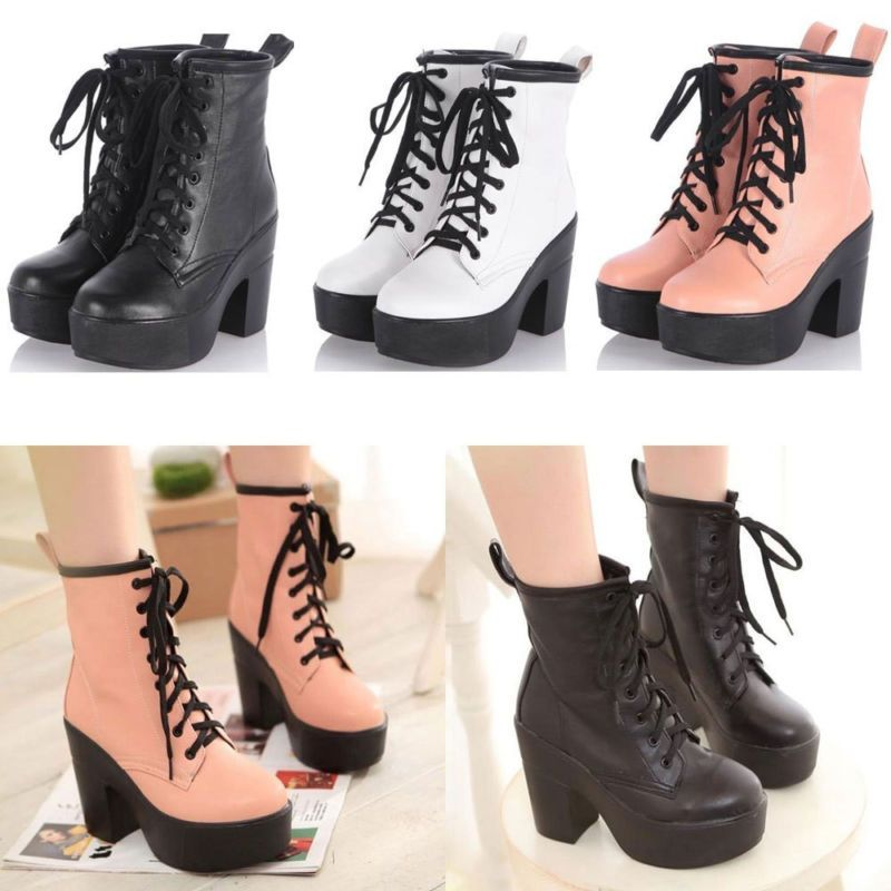 e5108f2a3bb1 New Women s Platform Block high Heels Ankle Boots Lace Up Goth Punk shoe