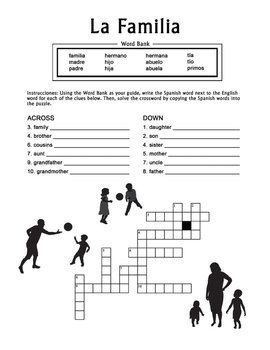la familia spanish family crossword puzzle worksheet spanish worksheets and high school. Black Bedroom Furniture Sets. Home Design Ideas