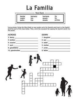 la familia spanish family crossword puzzle worksheet spanish worksheets and high school. Black Bedroom Furniture Sets. Home Design Ideas