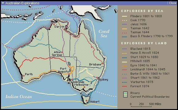 Map Of Australia 1830.Map Of Australian Explorers British Colonisation Of Australia