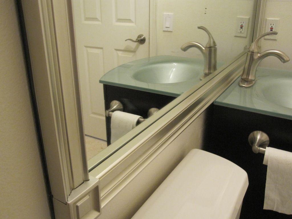 Bathroom mirror trim kits