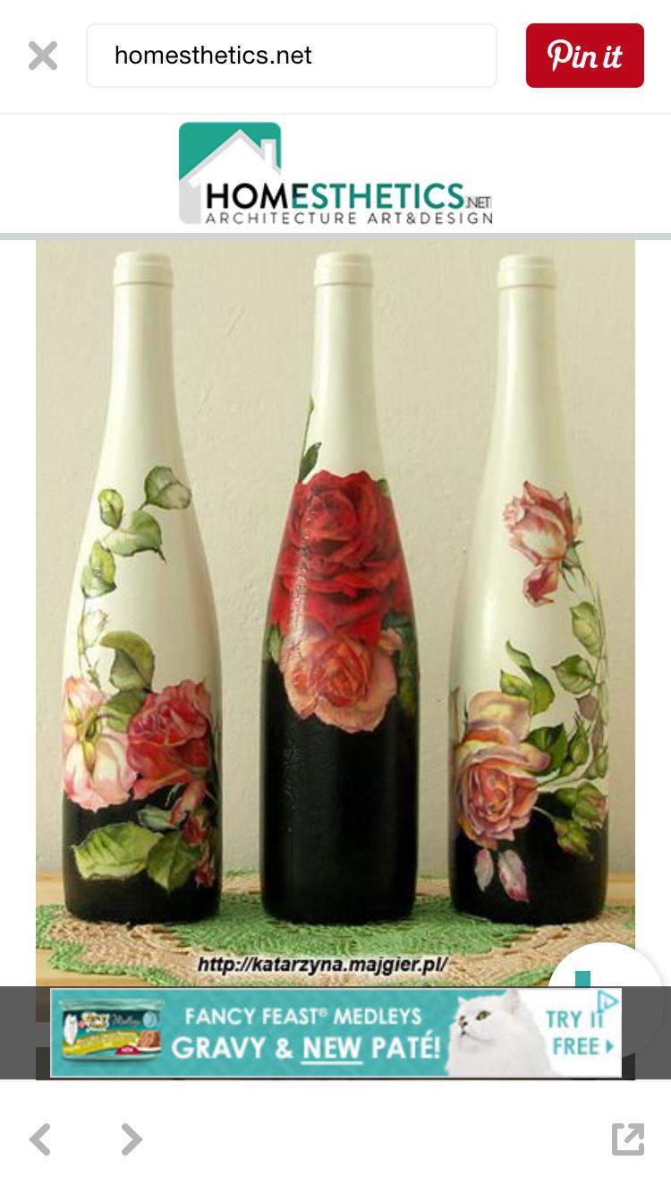 Rose painted wine bottles