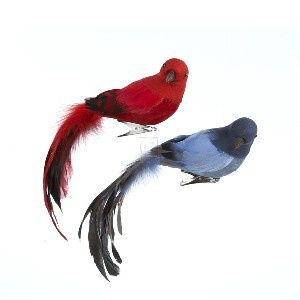 Flocked Feather Long Tail Bird ON Clip Ornament Set OF 2 - 11 Main