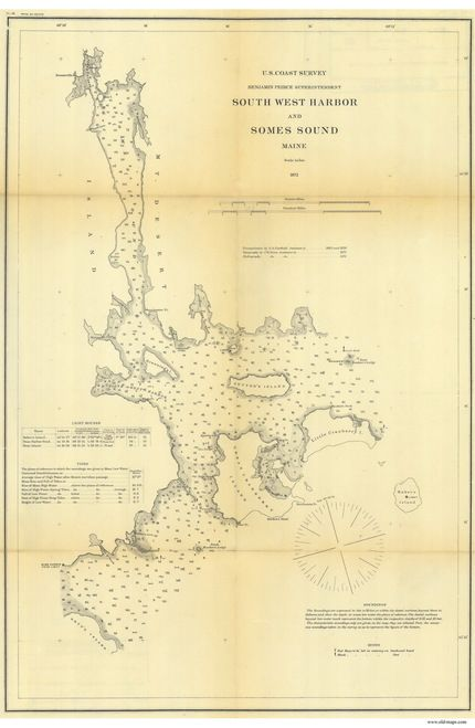South West Harbor And Somes Sound 1872 B Old Map Nautical Chart Ac Harbors 4 291 Maine Southwest Harbor Nautical Map Old Map