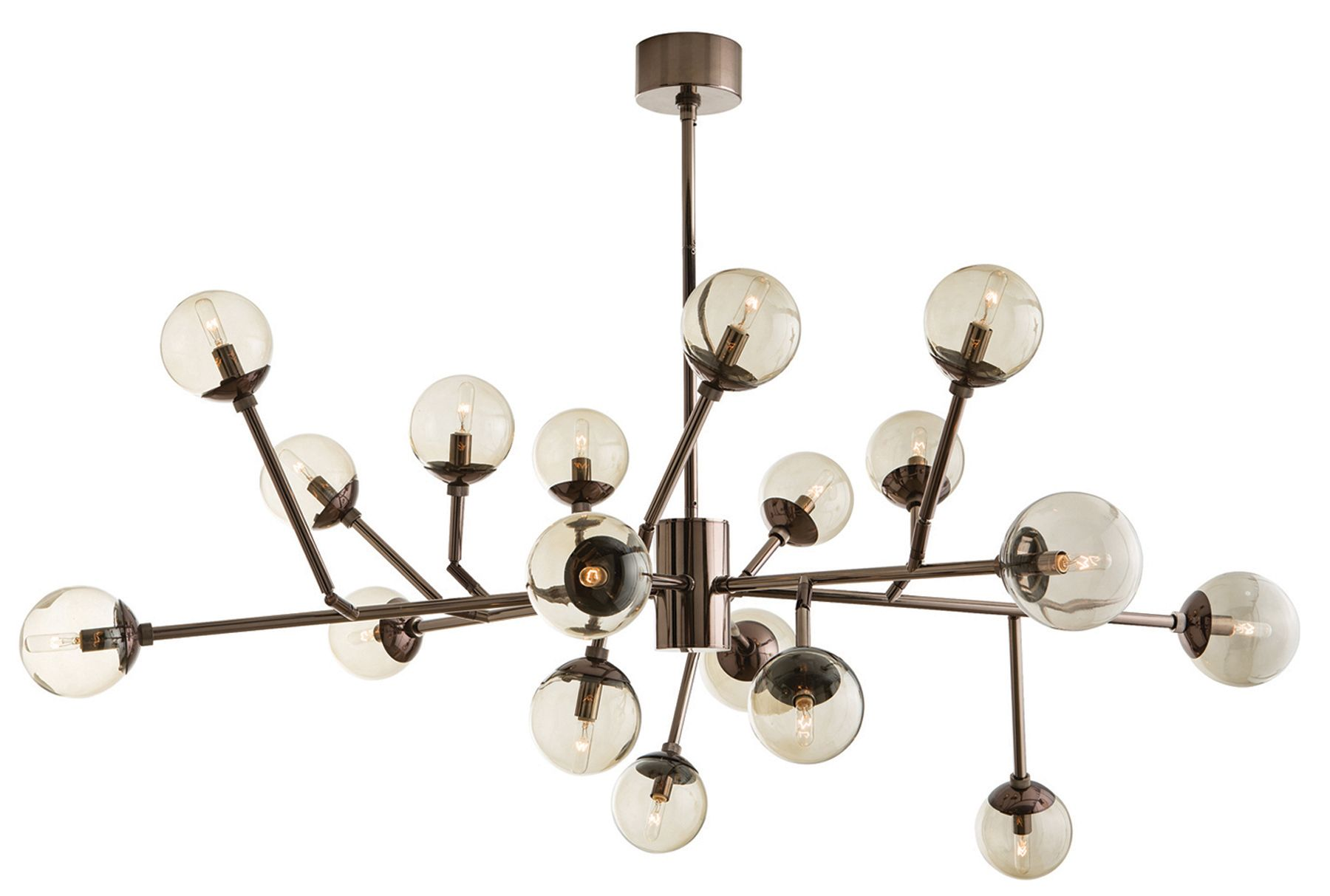 Dallas Chandelier features an 18-light cluster with 12 adjustable arms in a Brown Nickel or Vintage Brass finish. Eighteen 25 watt, 120 volt B10 type candelabra base incandescent bulbs are required, but not included. UL listed. Suitable for damp locations. 58 inch width x 18.5 inch height x 50.5 inch maximum length.