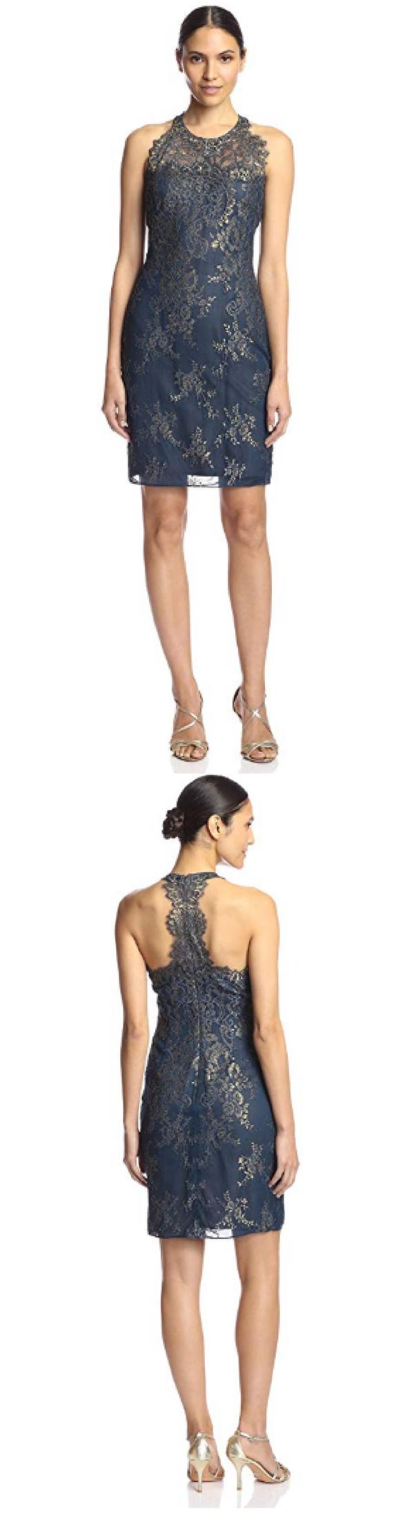 Marchesa notte womenus metallic lace cocktail dress teal dress