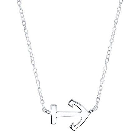 "Sterling Silver Anchor Station Necklace - Silver (18.4"") : Target"