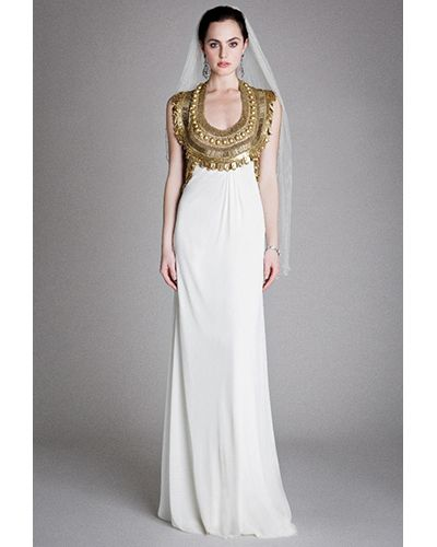 Grecian Style Wedding Gown: Metallic Wedding Dresses, Grecian Gown