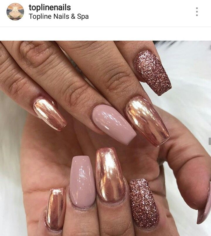 Rose Gold Chrome Nude Coffin Acrylic Nails winter nails - http ...
