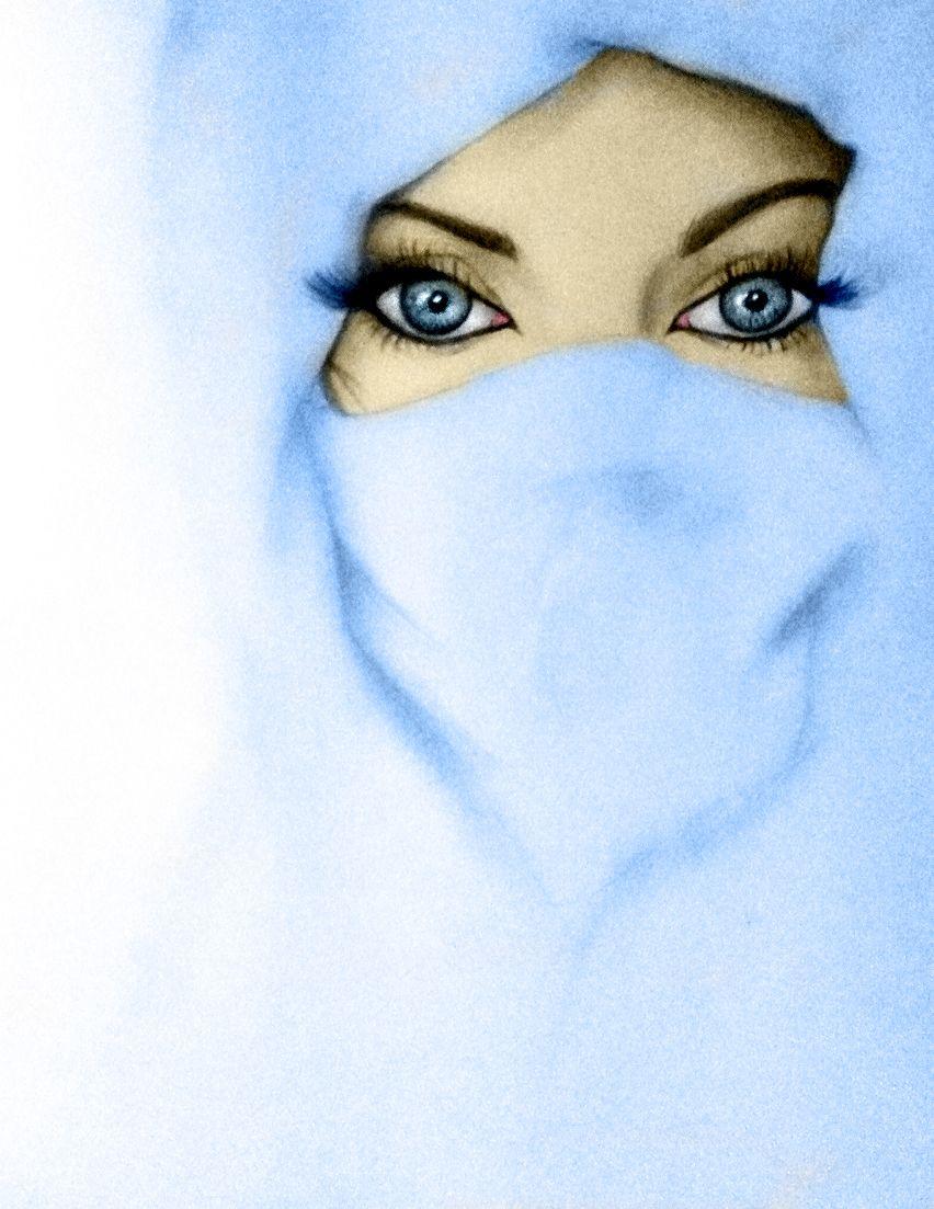 Blue Eyes In Blue Niqab Drawing Arab Beauty Anime Muslimah