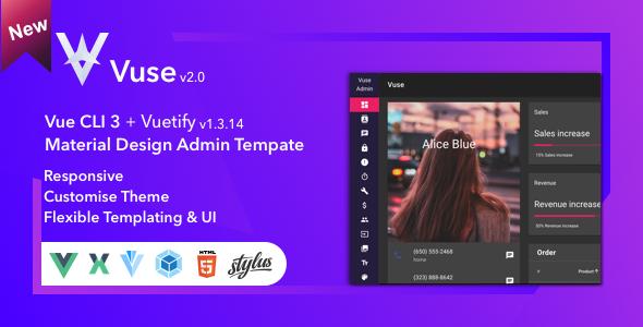 Vuse: VueJs CLI Material Admin | Best Premium HTML Themes