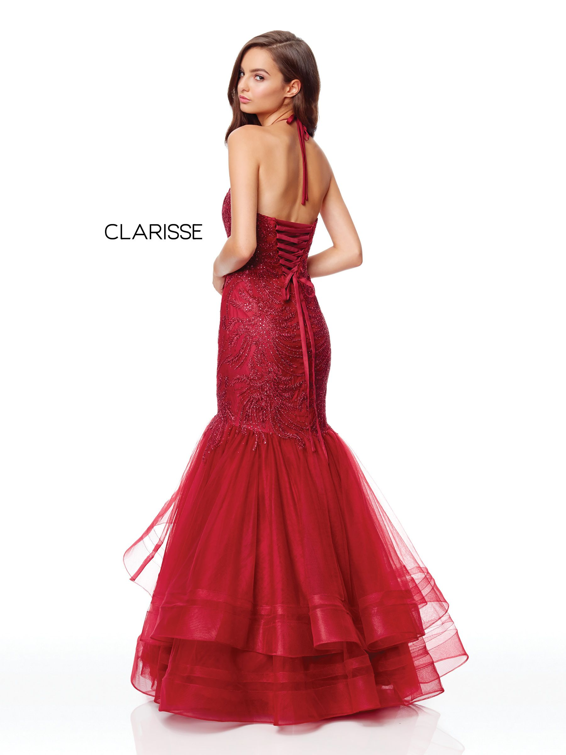 8e19794d8483 5016 - Wine fit to flare prom dress with a lace top and tulle bottom ...