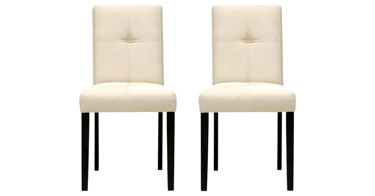 Casual and neutral, these dining chairs are brilliant contemporary pieces featuring the best of both worlds: style and comfort. Each chair is made with a dark brown wooden frame, foam cushioning,...