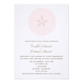 Beach Wedding - Pink Sand Dollar Invites