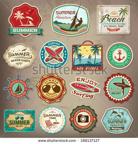 Collection Of Vintage Retro Grunge Summer Labels Labels Badges And Icons By Catherinecml Via Shutterstock かわいいステッカー ヴィンテージロゴ ステッカーデザイン