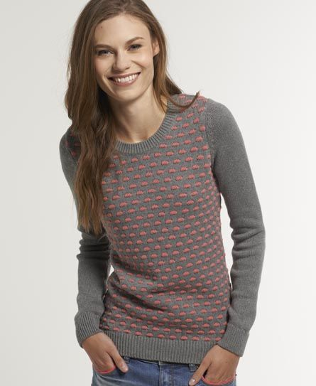 Shop Superdry Womens Swiss Dot Crew in Dark Marl. Buy now with free  delivery from the Official Superdry Store.