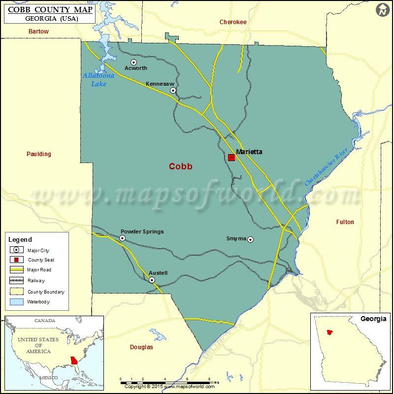 Cobb County Map USA Maps Pinterest Georgia County Seat And - Map of georgia usa