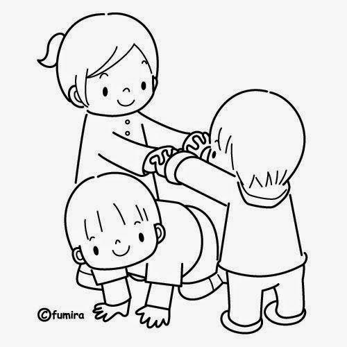 Resultado de imagen para dibujos de niños jugando en blanco y negro ...