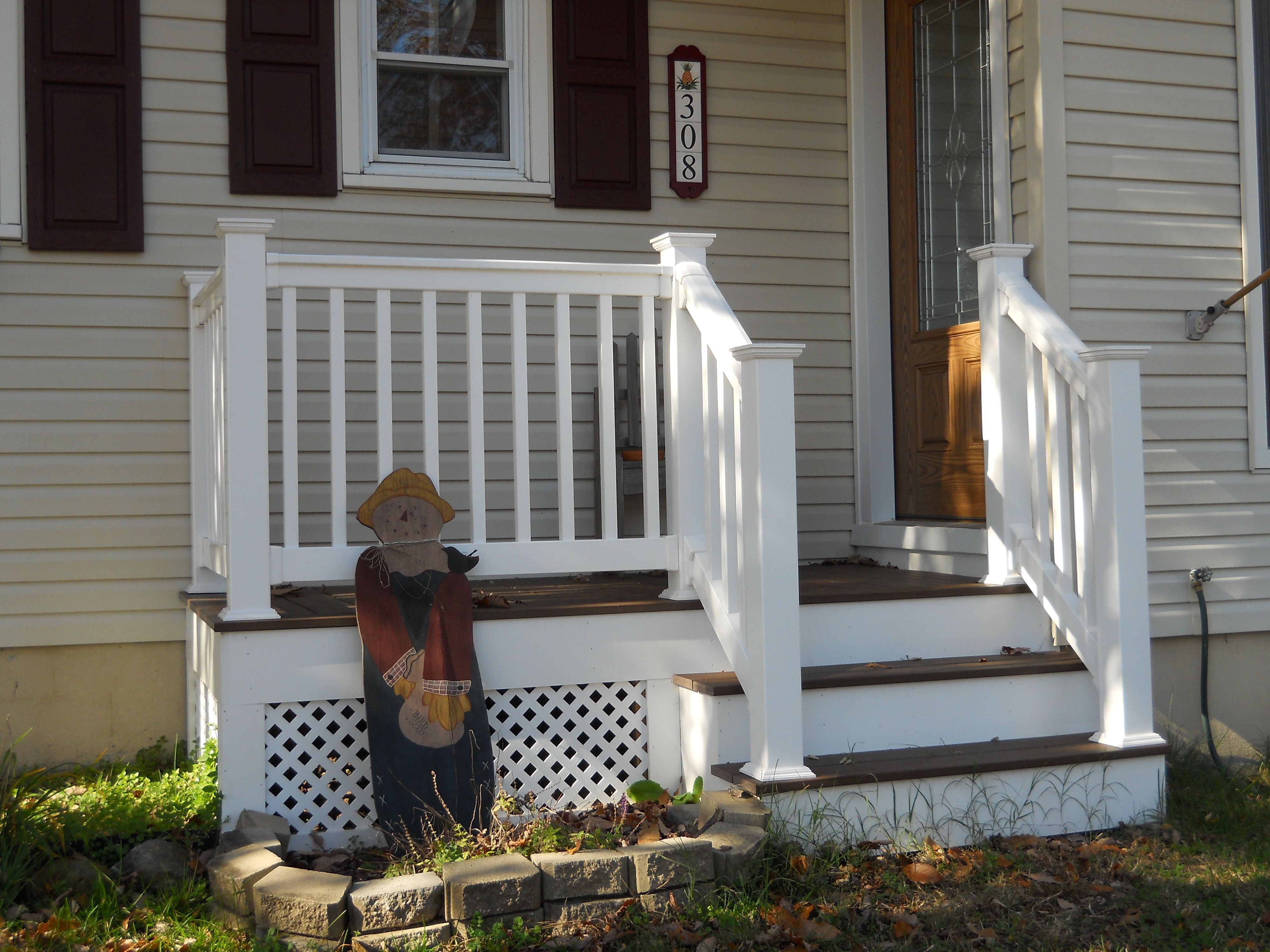 Front Porch Steps With Railing Front Yard Front Door Entry