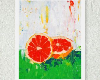 Grapefruit Print   Fruit Print   Original Oil Painting   Art For The Kitchen    Still Life Painting   Cute Kitchen Print   Fine Art Print