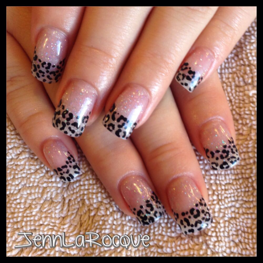 Brittany\'s glitter leopard gel nails, axxium, youngnails ...