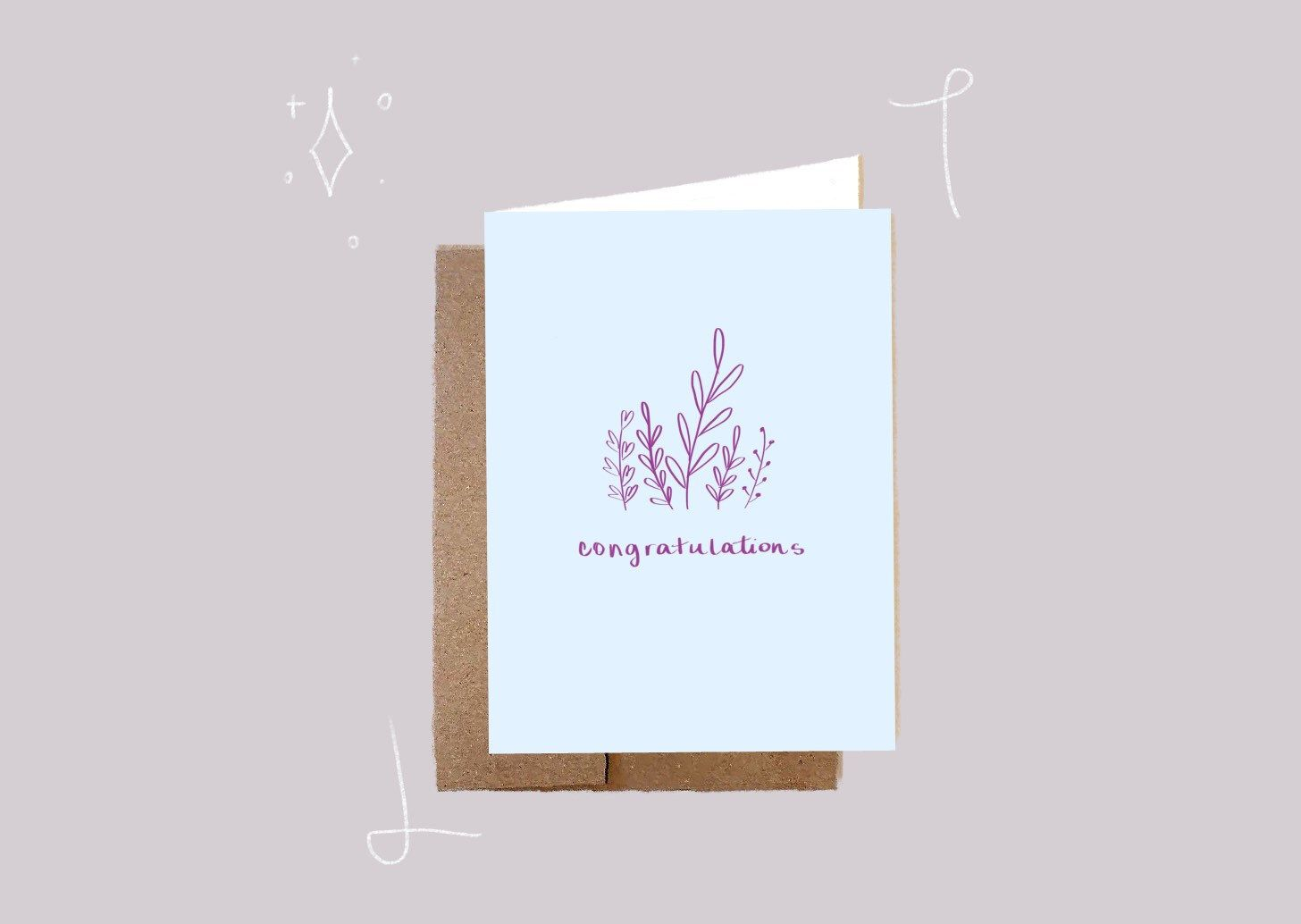 Photo of Minimalist Congratulations Greeting Card Clean Botanicals and Green Card Soft Blue Neutral Colors Blank Card Wreath Doodles Congratulations 6×4