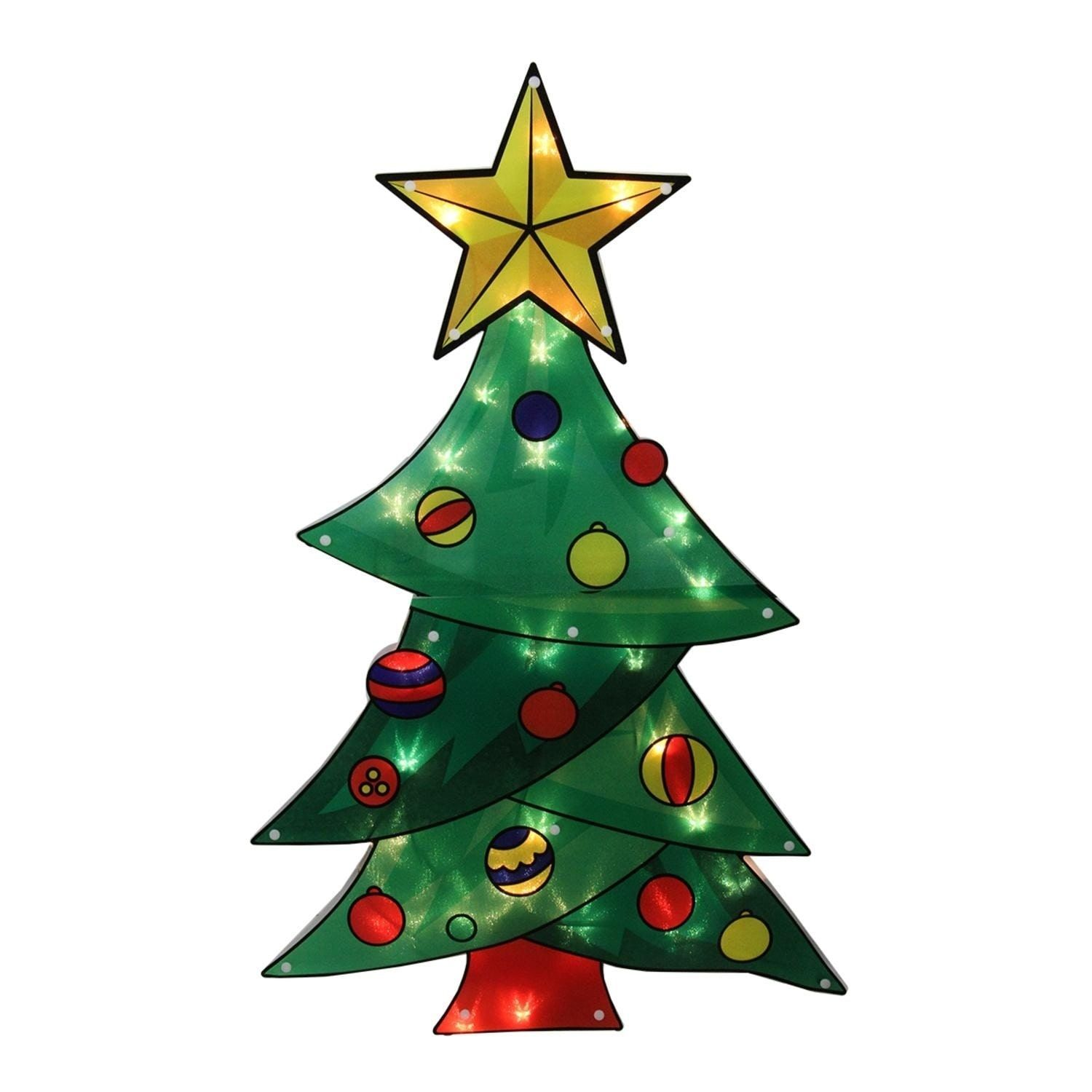 """Sienna 29.5"""" Lighted Shimmering Christmas Tree Outdoor Yard Art Decoration - Clear Lights"""