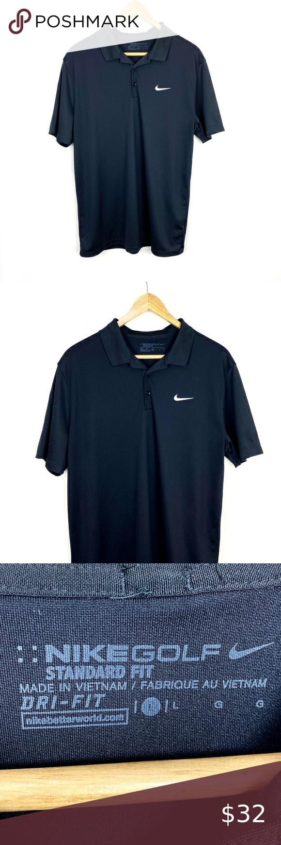 Men S Nike Black Polo Shirt Dri Fit Size L Black Polo Shirt Black Nikes Dri Fit
