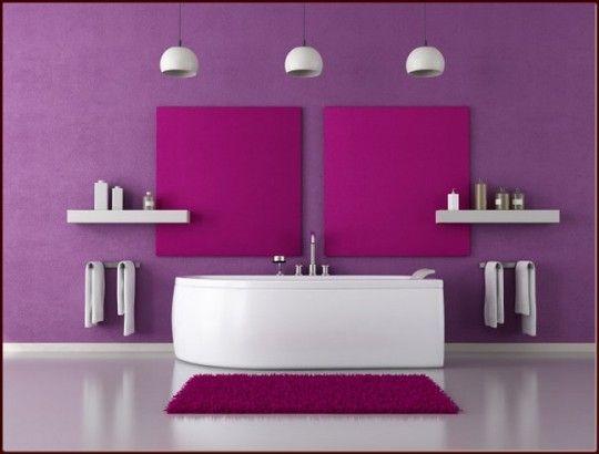 Purple Bathroom Ideas With Two Ornamental Squares Wall