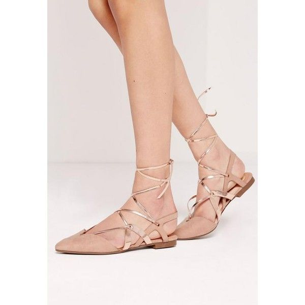 Missguided Strappy Metallic Slingback lace up ballerina flats ($16) ❤ liked on Polyvore featuring shoes, flats, nude, ballet flats, lace up pointed toe flats, flat shoes, ballet flat shoes and strap ballet flats