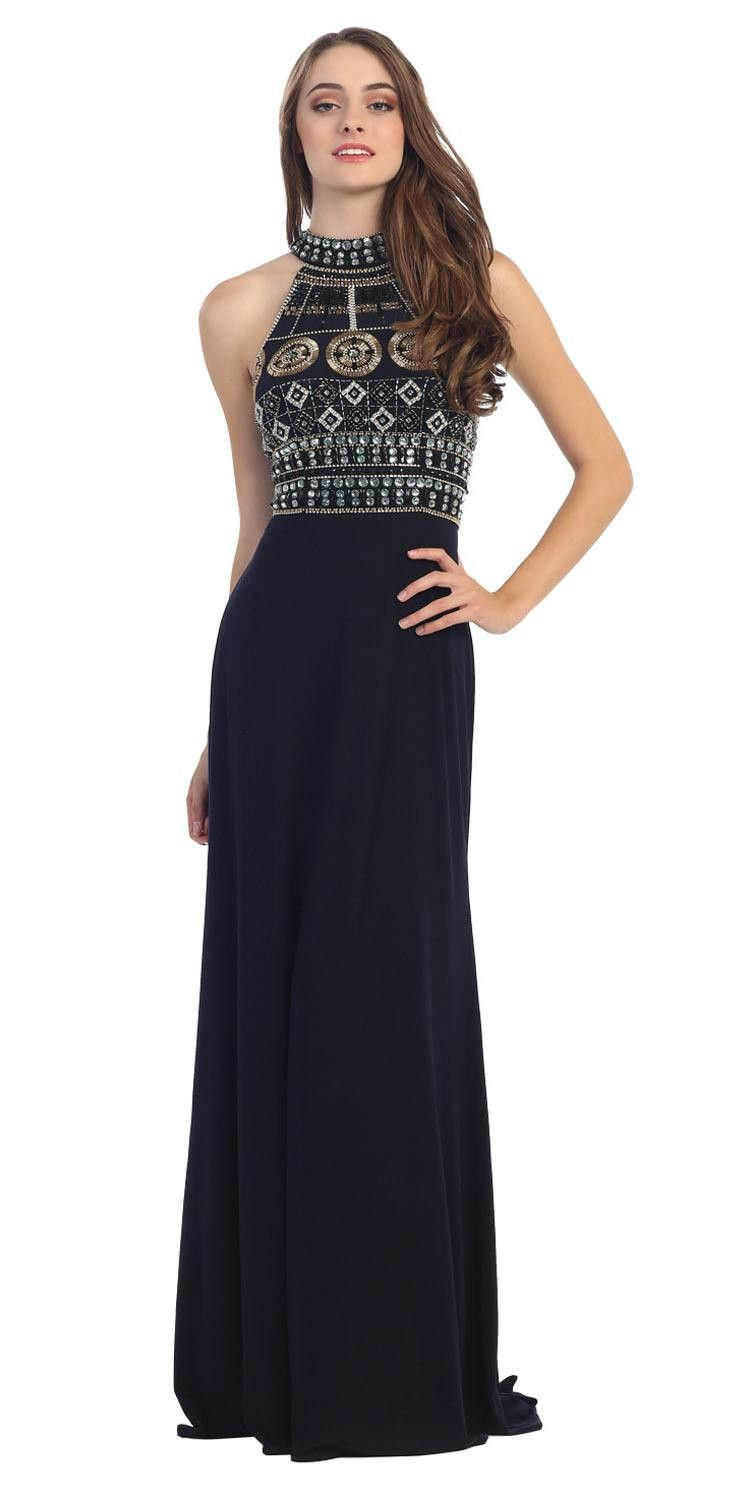 Navy blue halter beaded bodice long prom dress with cutout back