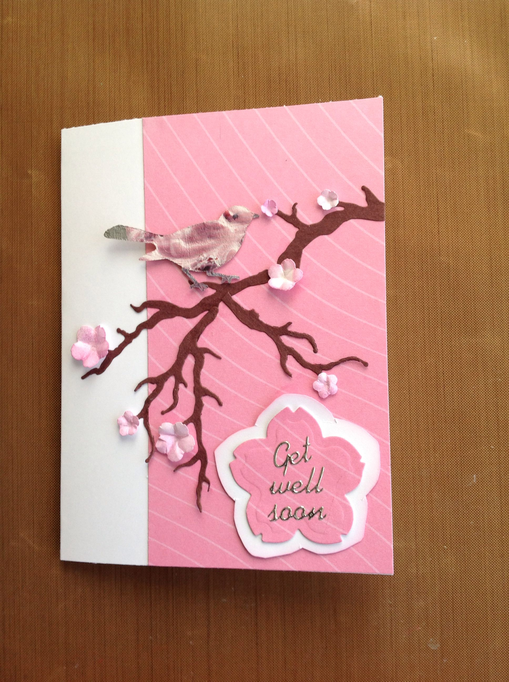 bird in tree get well soon  birthday cards cards get well
