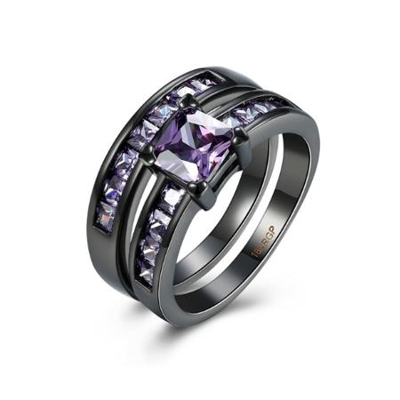 Women's Purple Cubic Zirconia Black Stainless Steel