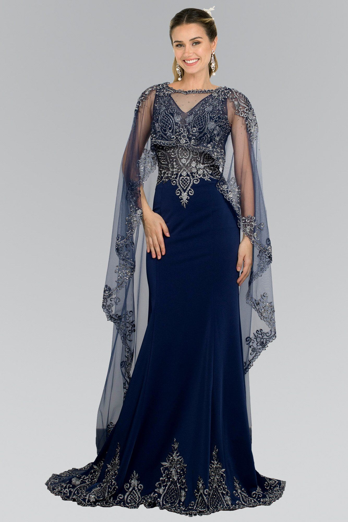 Long Evening Gown Prom Cape Dress  Vestidos glamourosos, Vestidos