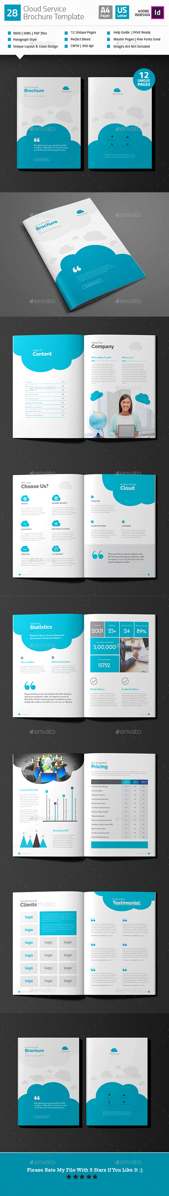 cloud service brochure template v28 indesign indd 85x11 web hosting download