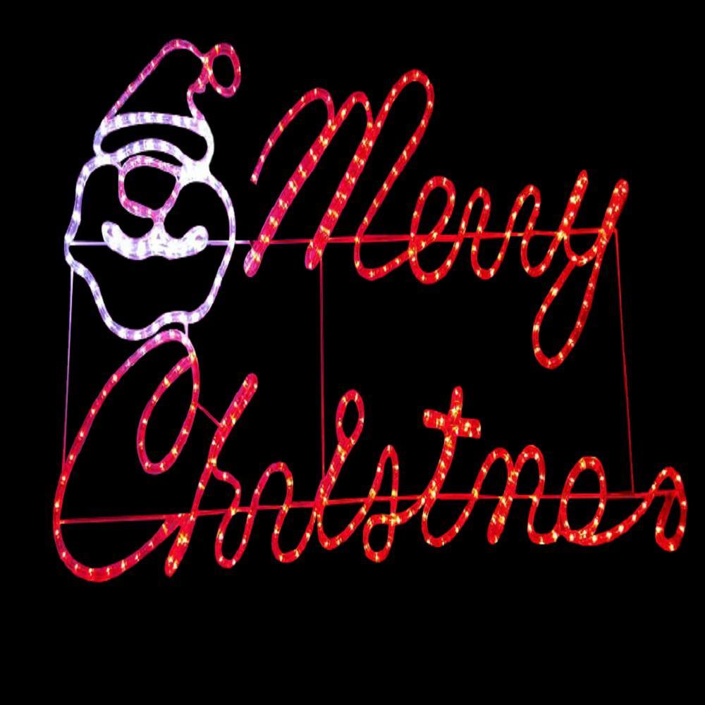 rope lighting null 47 in x 24 in merry christmas motif