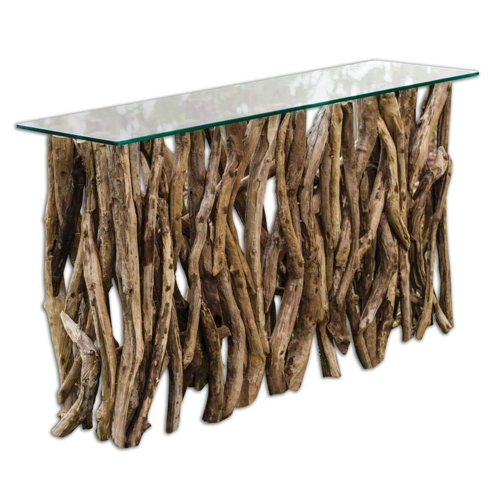 Details about spectacular driftwood console table horchow beach spectacular driftwood console table horchow beach hall sofa teak root wood contemporary geotapseo Images