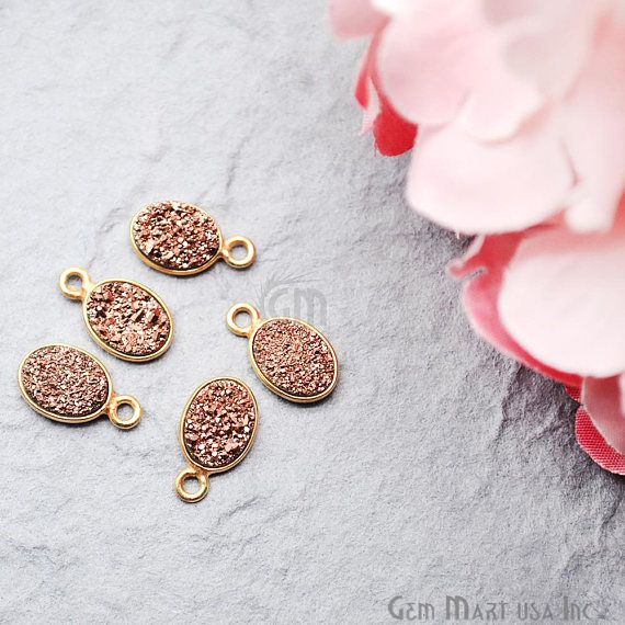Rose Gold Druzy Connector 6x8mm Oval Connector Gold Bail Connector