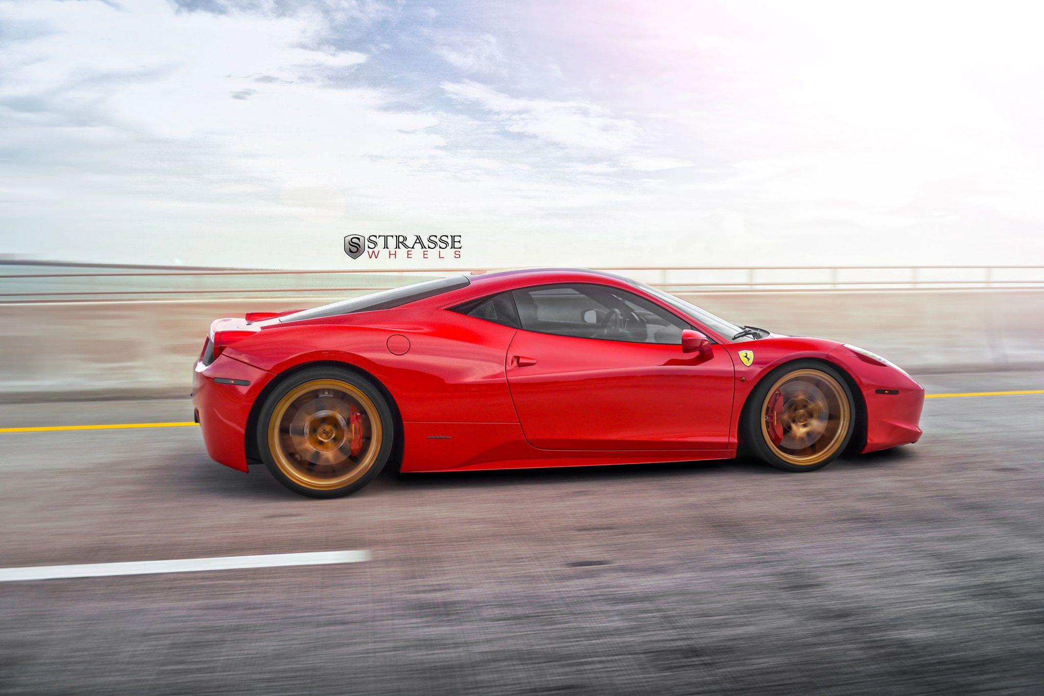red ferrari 458 italia on bronze strasse wheels side angle in motion image gallery - Wheelsandmore Ferrari 458 Italia