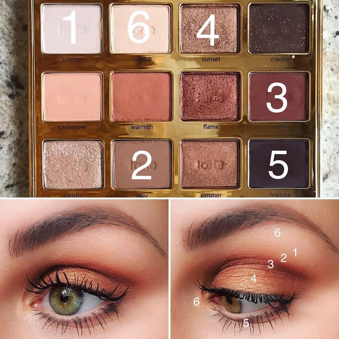"@danial_barbier on Instagram: ""Warm golden fall look🍁 @tartecosmetics Tartelette Toasted Eyeshadow Palette  1. S'more- base shade  2. Latte- Transition Shade  3. Cozy-…"""