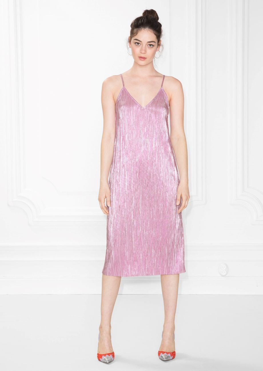 u Other Stories image  of Metallic Sheen Dress in Pink  Wear