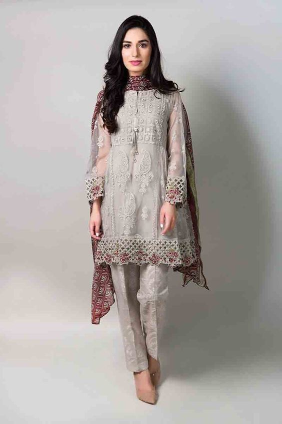 cba52999bc5af Gray net short shirt with matching dupatta and pants latest maria b fancy  party wear eid dresses 2017 with price for girls